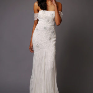Dominique Wedding Dress - Bandeau style wedding dress with trumpet style skirt