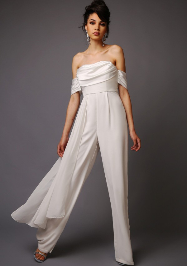 Patti Wedding Jumpsuit - Bandeau style jumpsuit with wide leg trousers and layered panel