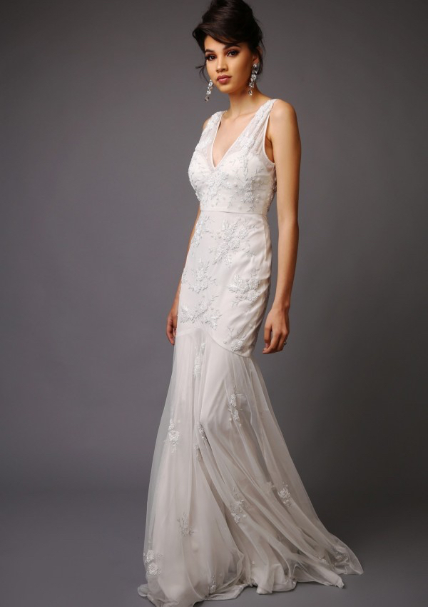 Charlize Wedding Dress - Tulle wedding dress with Low V-Neck and V-back