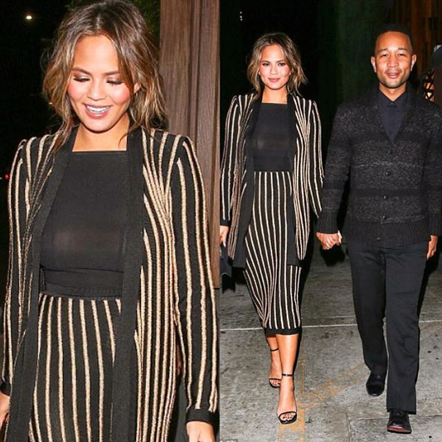 Chrissy and her husband John Legend. Chrissy in a matching high waist skirt and jacket, could be a great office look too