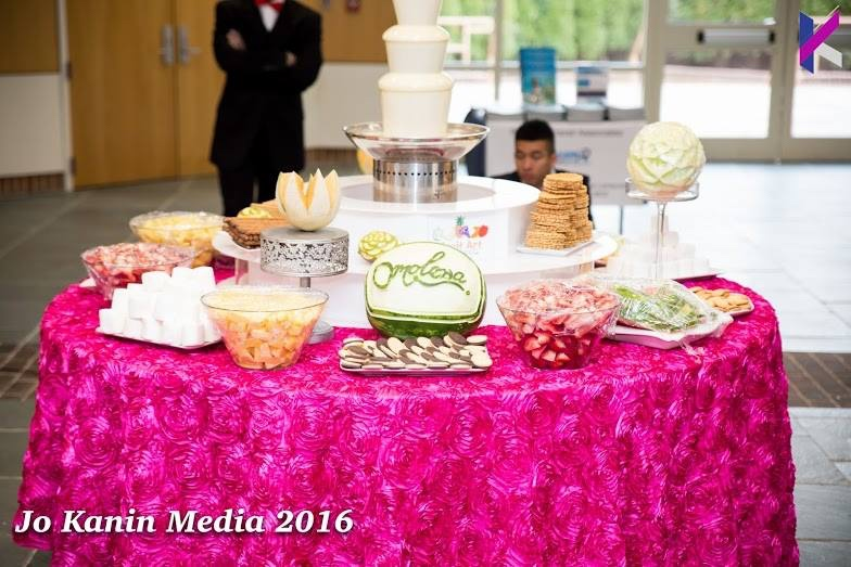omolewa cosmetics launch bellanaija april2016_Chocolate Fountain display by Fruit Art
