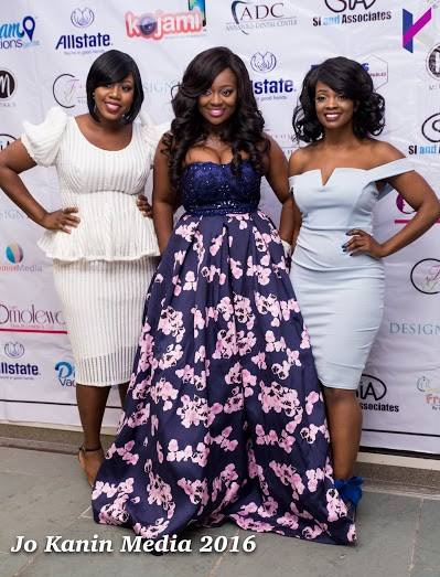 omolewa cosmetics launch bellanaija april2016_Sandra and Aisha from KItchen Talk on Kedu TV poses with Jackie Appiah
