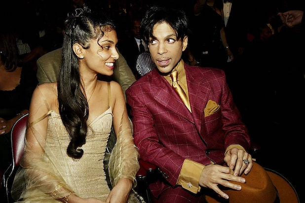 HOLLYWOOD, CA - MARCH 6: Singer Prince (R) and his wife Manuela Testolini backstage at the 35th Annual NAACP Image Awards held at the Universal Amphitheatre, March 6, 2004 in Hollywood, California. (Photo by Frank Micelotta/Getty Images) *** Local Caption *** Prince;Manuela Testolini