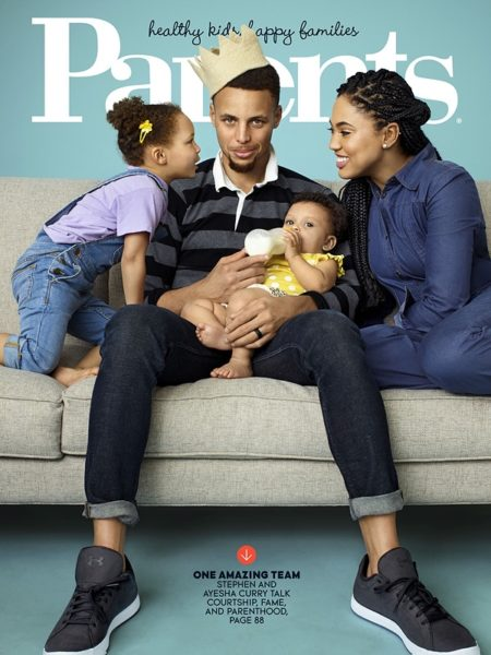 the currys are the cutest family on the cover of parents