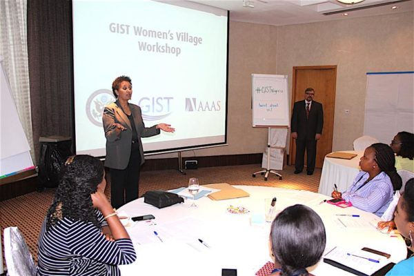 Public Affairs Officer Dehab Ghebreab opening the GIST workshop in Lagos on Wednesday. Photo: U.S. Consulate General Lagos.