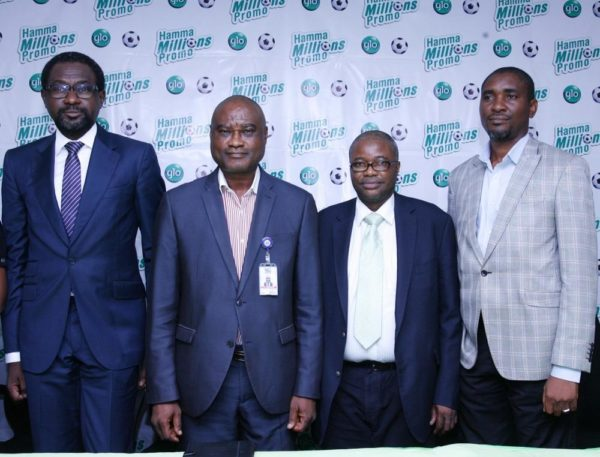 L-R Folu Aderibigbe, Coordinator, Enterprise Sales, Globacom; Aninweke Okechukwu, Zonal Controller, Nigerian Communications Commission(NCC), Lagos office; Niyi Olukoya, Head, Back Office Sales, Globacom, and Fidelis Ajibogun, Ag. Assistant Director/Coordinator, Lagos, National Lottery Regulatory Commission (NLRC), at the official unveiling in Lagos on Monday of Glo Hamma Millions Promo which offers N125m cash prizes to subscribers.