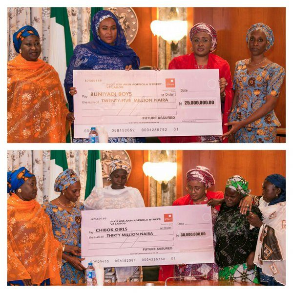 Aisha Buhari Presents N55 million to Boko Haram Victims1