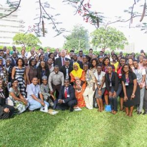 Ambassador Entwistle and the 2016 Mandela Washington Fellows gather for a group photo on the lawn of the U.S. Embassy.