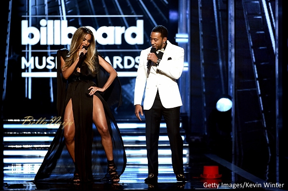 Ciara in a Michael Costello jumpsuit