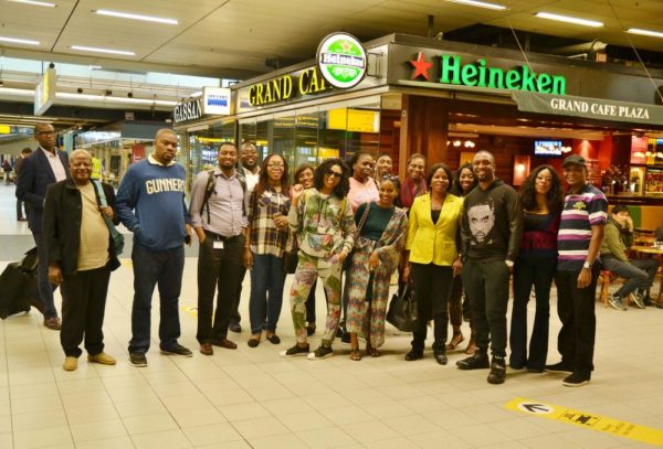 Darey Art Alade, Stephanie Coker and Fans at the Amsterdam Airport