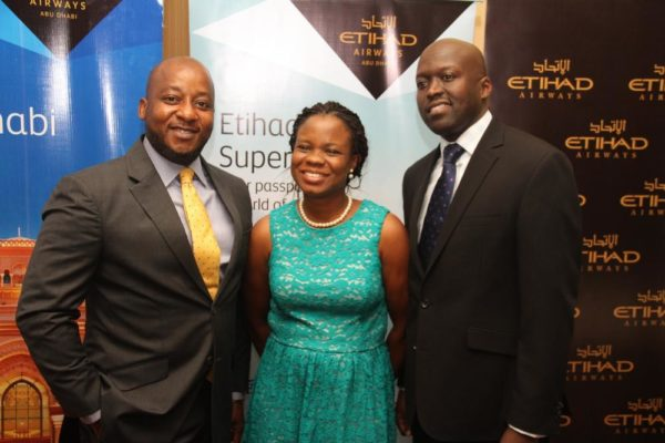 George Mawadri General Manager ( Right) Fola Akinboro, Marketing Lead (Middle)Percival Uwuchue, Airport Manager(Left) at the Etihad Airways Trade Workshop Event in Lagos.