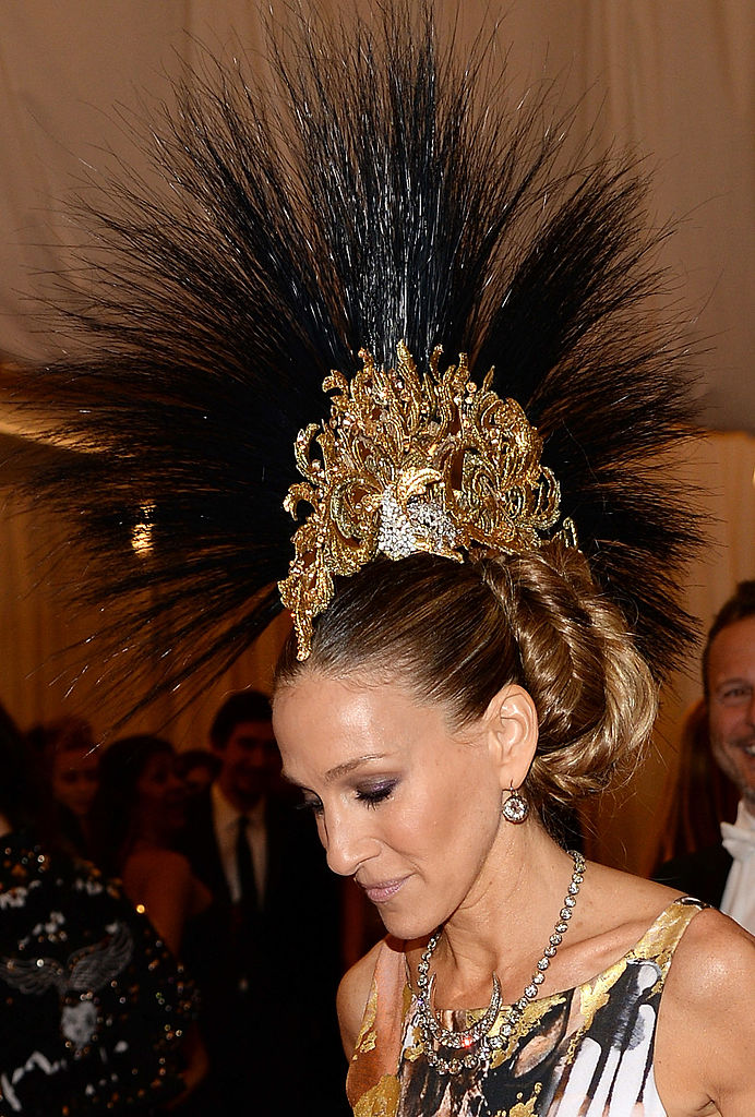 "NEW YORK, NY - MAY 06:  Sarah Jessica Parker attends the Costume Institute Gala for the ""PUNK: Chaos to Couture"" exhibition at the Metropolitan Museum of Art on May 6, 2013 in New York City.  (Photo by Dimitrios Kambouris/Getty Images)"
