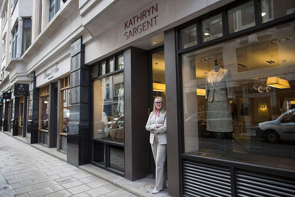 LONDON, ENGLAND - APRIL 06: Master tailor Kathryn Sargent poses inside her new shop on Savile Row on April 6, 2016 in London, England. Kathryn Sargent whose clients have included members of the royal family and David Beckham, has become the first female tailor to open a shop on Savile Row, the home of bespoke tailoring in the UK. (Photo by Dan Kitwood/Getty Images)