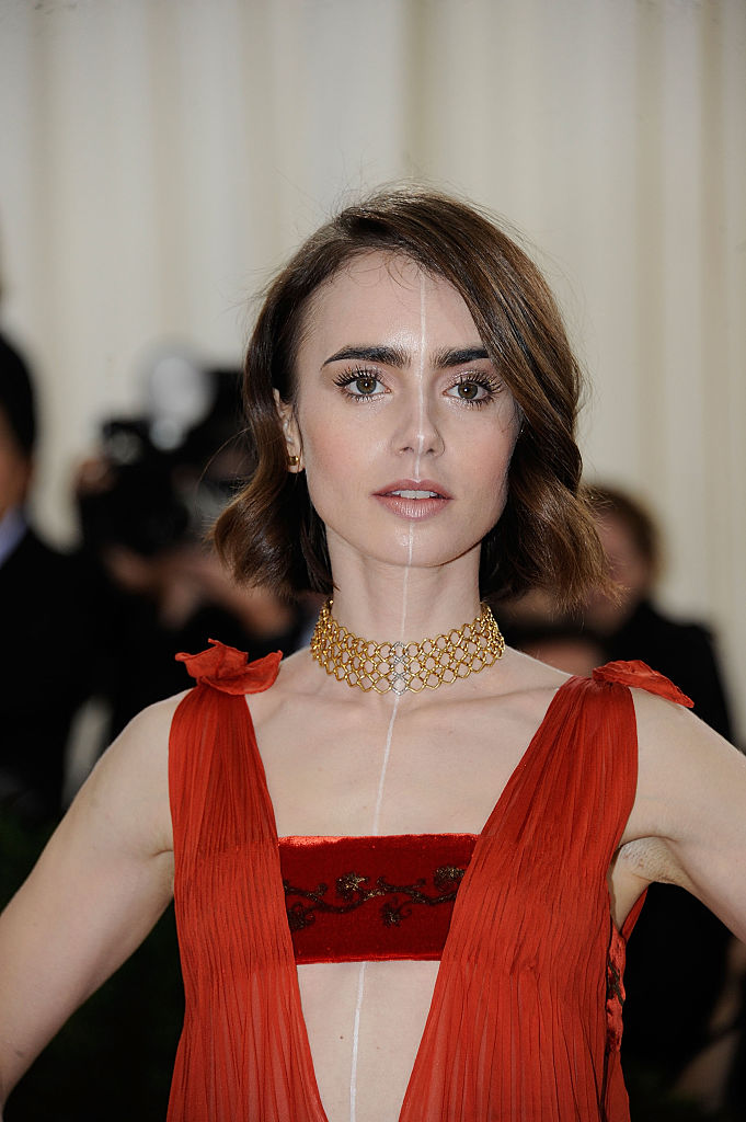 "NEW YORK, NY - MAY 02: Lily Collins attends ""Manus x Machina: Fashion In An Age Of Technology"" Costume Institute Gala at (Photo by Rabbani and Solimene Photography/Getty Images)"
