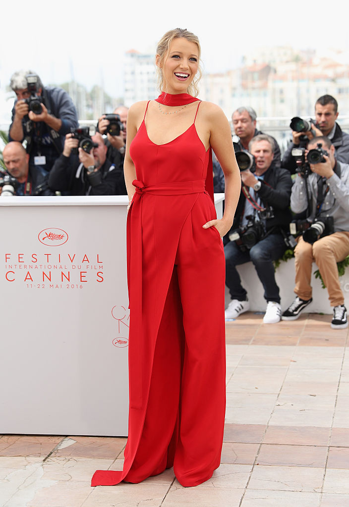 Blake Lively in high wait jumpsuit