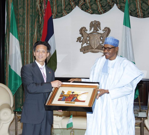 Ambassador of Peoples Republic of China to NigeriaGu Xiaojie and President Buhari