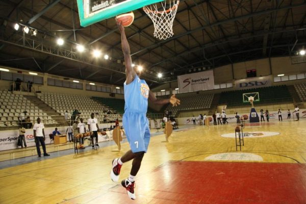 A contestant makes a layup during the Skills Challenge at the DStv Premier Basketball league All Star game.