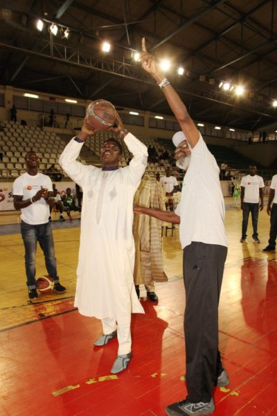 Barrister Solomon Dalong tries a shot from within the arc at the DStv Premier Basketball league All Star game.