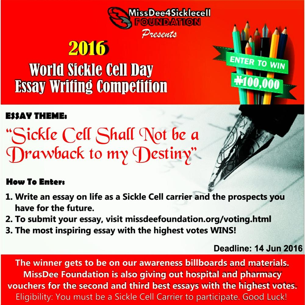 missdee sickle cell foundation presents ldquo world sickle cell missdee4 sickle cell foundation presents ldquo2016 world sickle cell day essay writing competitionrdquo