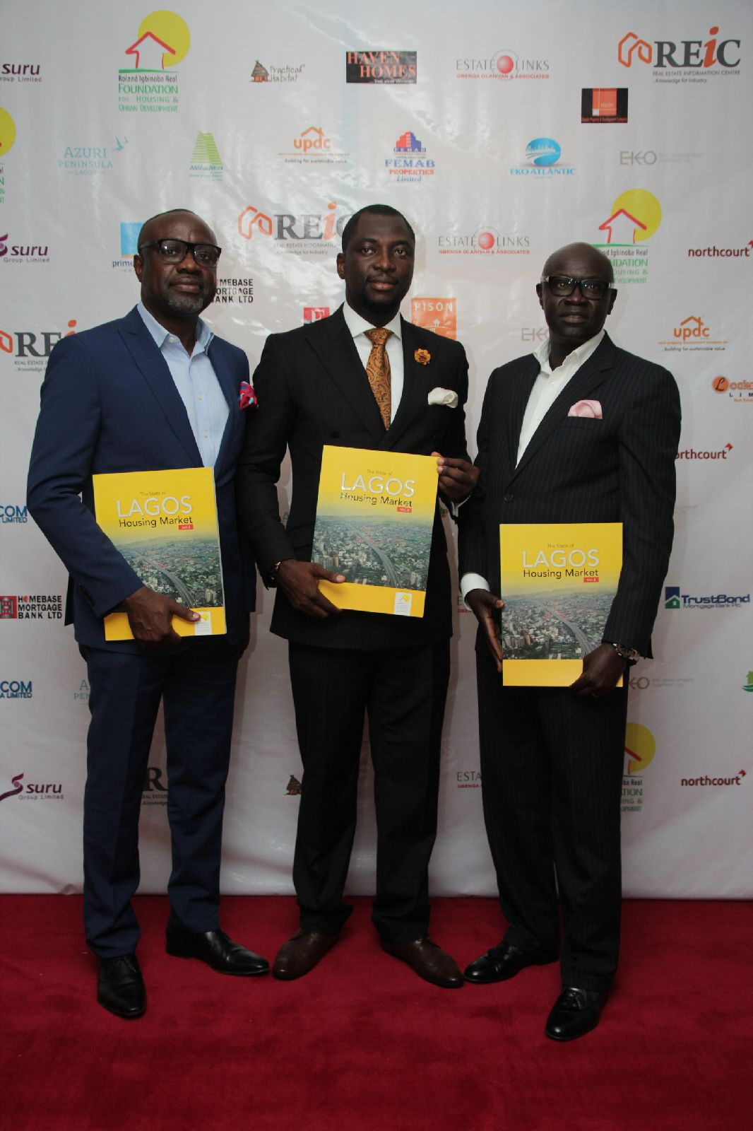 From left to right, Mr. Gbenga Olaniyan - MD/CEO, Estate Links International, Mr Roland Igbinoba, Executive Vice Chairman, (RIRFHUD) and Mr. Mustapha Njie - MD/CEO TAF Africa Homes, Nigeria/Gambia.