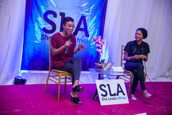 Lola OJ (MD Blinx Lashes) speaking about makeup tips for the busy professional. Being interviewed by Adama Indimi (SheHive Abuja Host Committee member)
