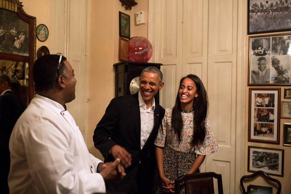 Malia and dad Barack Obama in Cuba earlier this year