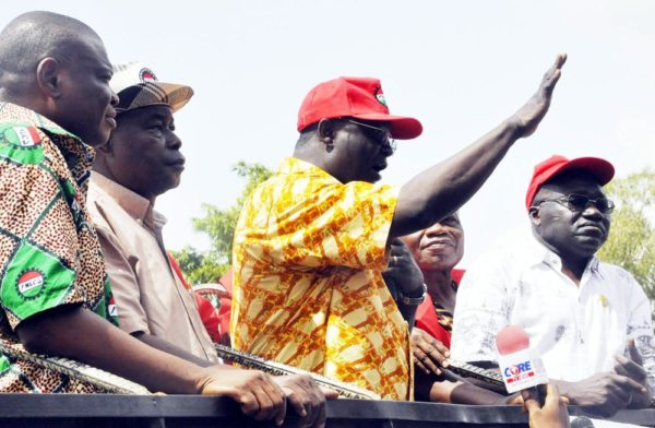 FROM LEFT: LEADER OF THE CIVIL SOCIETY GROUPS, COMRADE JAYE GASKIYA; NATIONAL SECRETARYOF THE NLC, COMRADE PETER OZO-ESAN; NLC PRESIDENT, COMRADE AYUBA WABBA; FORMER ASUU PRESIDENT,DR DIPO FASINA, AND COMRADE ISSA AREMU, DURING THE NLC AND CIVIL SOCIETY ORGANISATION PROTEST OVER INHUMAN INCREASE IN PETROL PRICE IN ABUJA ON WEDNESDAY (18/5/16). 3623/18/5/2016/OTU/BJO/NAN