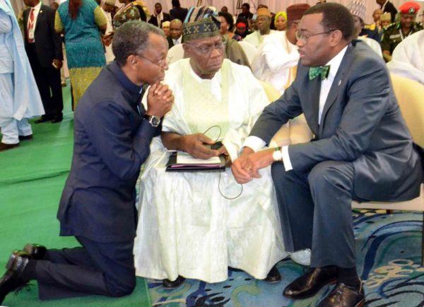 PIC.5. GOV. NASIR EL-RUFAI OF KADUNA; FORMER PRESIDENT OLUSEGUN OBASANJO AND PRESIDENT OF AFRICAN DEVELOPMENT BANK, DR AKINWUMI ADESINA, AT THE 2ND REGIONAL SECURITY SUMMIT IN ABUJA ON SATURDAY (14/5/16) 3561/14/5/2016/JAU/NAN