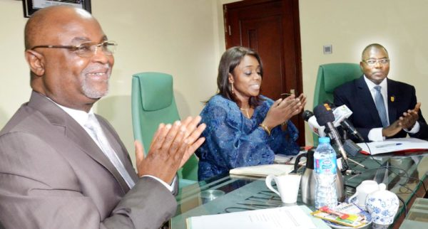 PIC 7.  PERMANENT SECRETARY,  MINISTRY OF DEFENCE, AMB. DANJUMA SHENI; MINISTER OF FINANCE, MRS  KEMI ADEOSUN AND HEAD, PRESIDENTIAL INITIATIVE ON CONTINOUS AUDIT (PICA), MR MOHAMMED DIKWA, AT  THE PICA MEETING IN ABUJA ON TUESDAY (17/5/15). 3596/7/5/2016/JAU/BJO/NAN