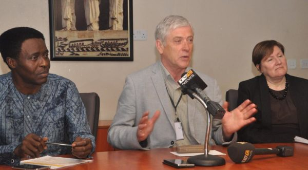 Chief Operating Officer, Continental Broadcasting Service, Lemi Olalemi; Chief Executive Officer, Continental Broadcasting Service, Nigel Parsons and Chief Commercial Officer, Continental Broadcasting Service, Lindsey Oliver, at the press briefing to announce the launch of TVC channels on DSTV and GOTV, held at Continental Broadcasting Service head office, Lagos, today Thursday, May 12th, 2016.