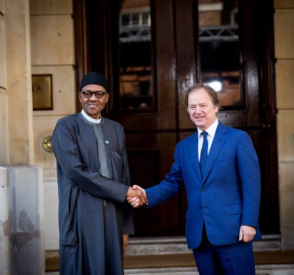 President Buhari welcomed by UK Foreign Affairs Minister, HugoSwire, on arrival for the Anti-Corruption Summit