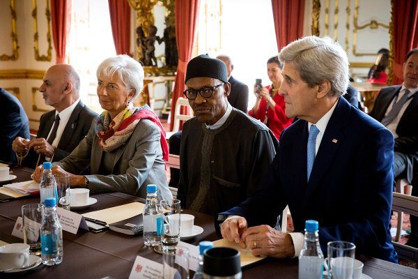 R-L: JohnKerry, Muhammadu Buhari, Lagarde and Ashrafghani during the Leader's Breakfast at Lancaster House, London, today