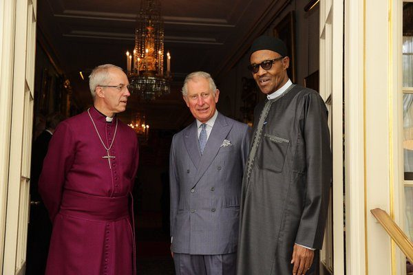 President Buhari with Prince Charles and Archbishop of Canterbury, Justin Welby at Clarence House, London, today
