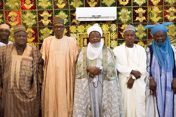 President Buhari today paid homage to the Emir of Katsina, HRH Alhaji Abdulmumini Kabir Usman, at the Emir's Palace1