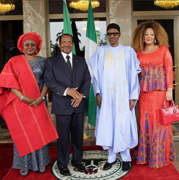 President Buhari with L-R: Wife of the President Mrs Aisha Buhari, H.E. Paul Biya, President of the Republic of Cameroun and his spouse Mrs Chantal Biya as President Buhari receives in State Visit H.E. Paul Biya, President of the Republic of Cameroun in Statehouse on 3rd May 2016 Credit: Bayo Omoboriowo