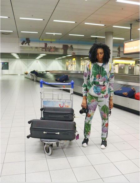 Stephanie Coker at the Amsterdam Airport