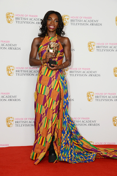 LONDON, ENGLAND - MAY 08:  Michaela Coel holds the award for Breakthrough Talent during the House Of Fraser British Academy Television Awards 2016  at the Royal Festival Hall on May 8, 2016 in London, England.  (Photo by Dave J Hogan/Getty Images)