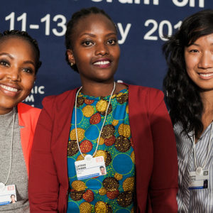 Nneile Nkholise, iMED Tech Group, Bloemfontein, South Africa, Larissa Uwase, CARL GROUP, Kigali, Rwanda and Audrey Cheng, Moringa School, Nairobi, Kenya at the World Economic Forum on Africa 2016 in Kigali, Rwanda