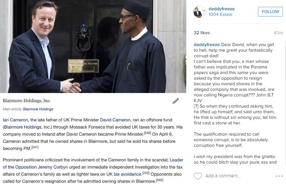 David Cameron had no Idea - called Nigerians Fantastically Corrupt country