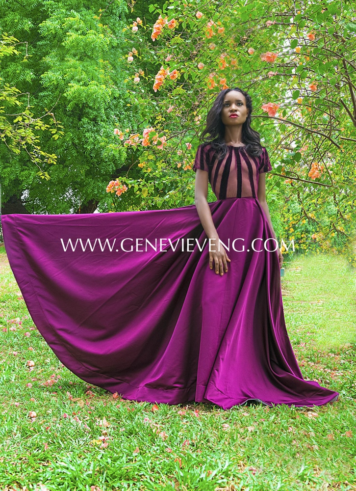 Purple Stripped Velvet and Mesh Satin Dress – Weizdhurn Franklyn