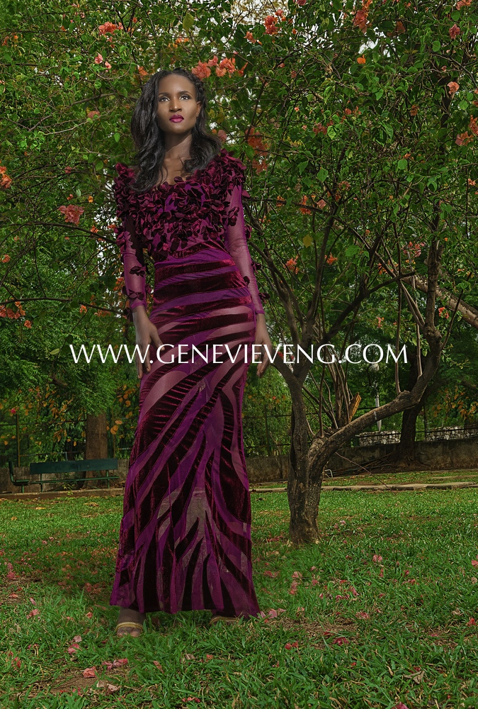 Purple floral velvet and mesh mermaid dress – Weizdhurn Franklyn