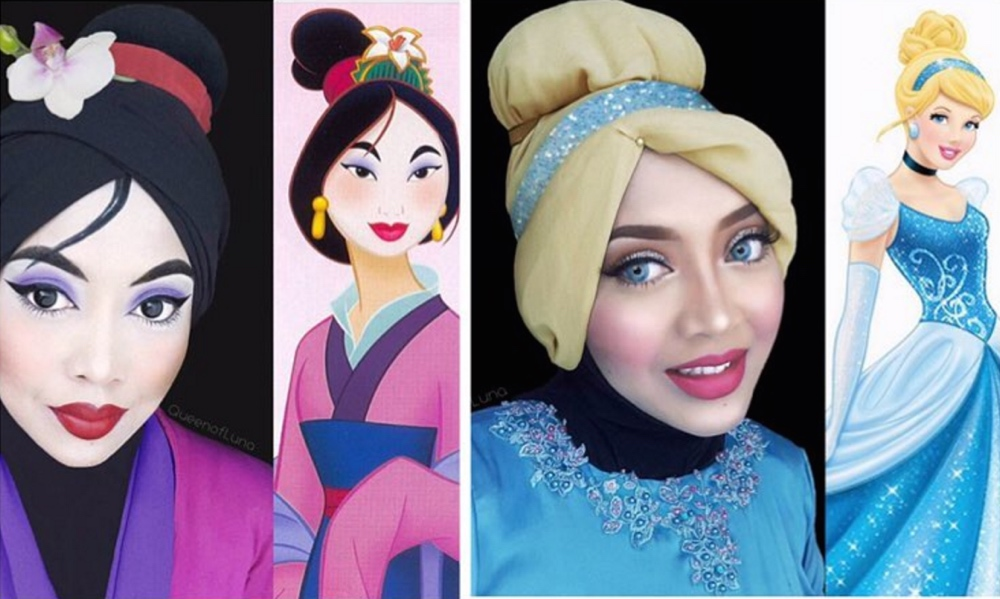 This Makeup Artist Gets Creative With Her Hijab Transforming - Makeup artist uses hijab to transform herself into disney characters