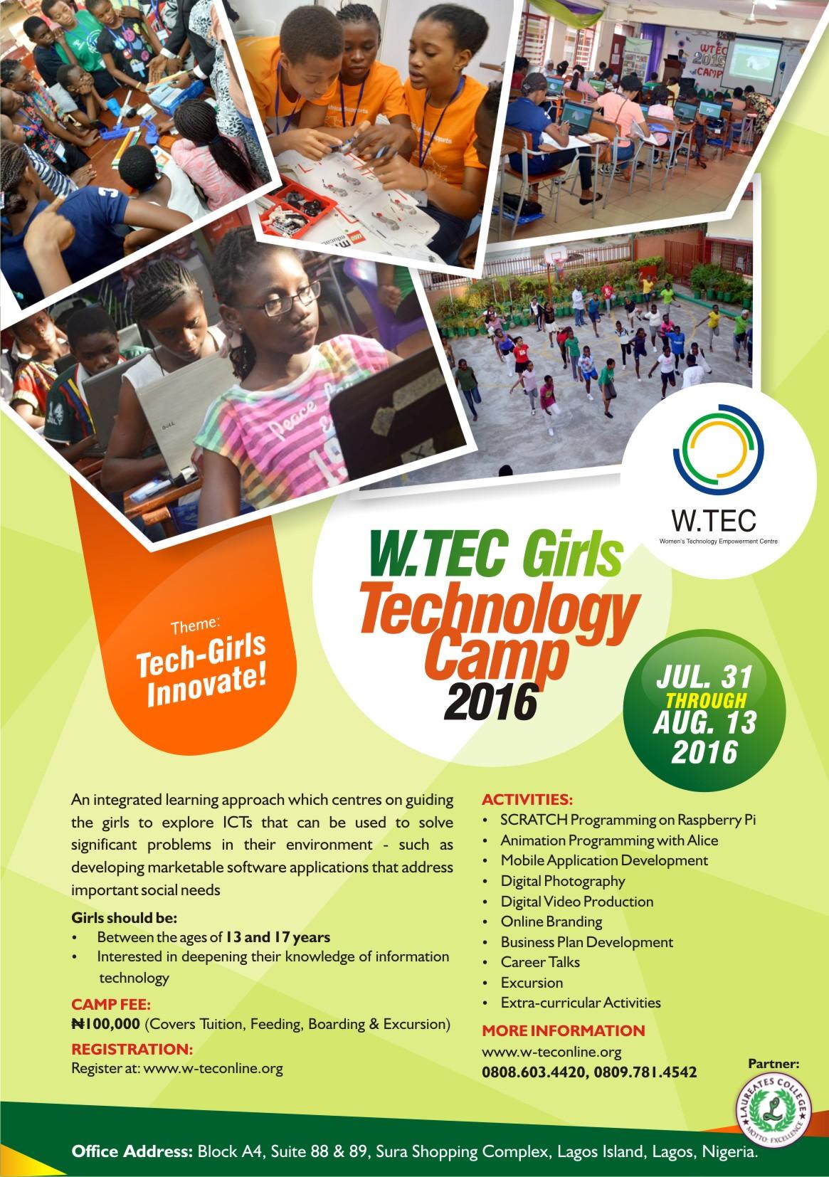 2016 W-TEC Girls Camp Flyer