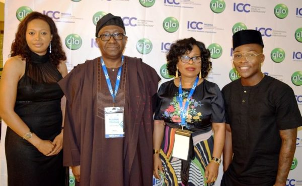 L-R: Justina Abdulateef of Public Sector, Globacom; Chief Bayo Ojo (SAN), Former Attorney General of the Federation; Mrs. Gladys Talabi, Executive Director, Legal Services, Globacom, and Reekado Banks, Glo Ambassador, at the Gala Night for delegates at the Globacom-sponsored 1st ICC Africa Regional Arbitration Conference held at Eko Hotel, recently.
