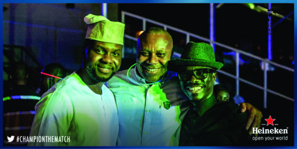 Adebola Williams,Edem Vindah and Julius Agwu at the Heineken House Lagos