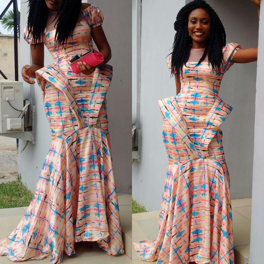 Patricia slayed in this abstract ankara number she designed herself!