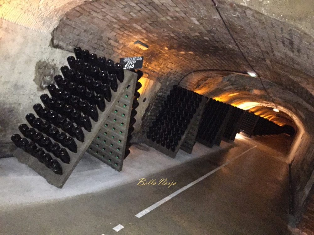 The wines mature in the cellars. Different bottles are in different stages of the maturation process.
