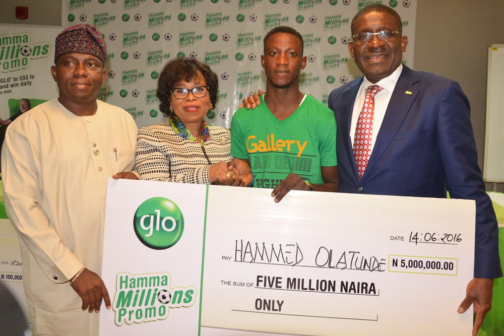 L-R: Hon. Suraju Adekunbi, Speaker, Ogun State House of Assembly; Gladys Talabi, Executive Director, Legal Services, Globacom; Hamed Olatunde, N5 Million Winner, and Waheed Olagunju, Acting Managing Director, Bank of Industry, at the formal presentation of prizes to the first set of winners in the Glo Hamma Millions Promo at Mike Adenuga Towers, Victoria Island, Lagos, on Tuesday.