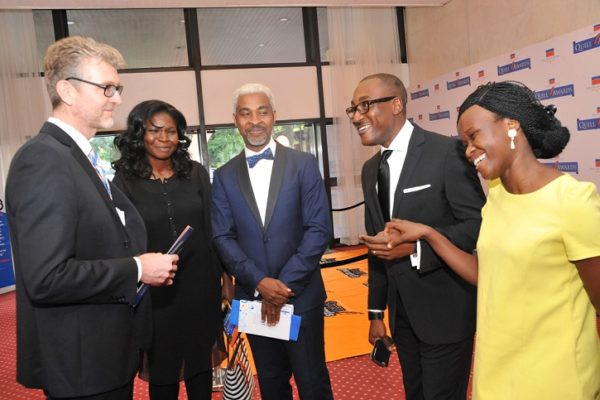 (L-R) Olivier Thiry, Managing Director, Promasidor Nigeria Limited; Reze Bonna, a member of Panel of Judges with his wife (2nd left); Adrew Enahoro, Head, Legal/Public Relations, Promasidor Nigeria; and Miss Toyosi Ogunseye, Editor, Sunday Punch; at the 2016 Promasidor Quill Awards event held at Sheraton Lagos Hotel …recently