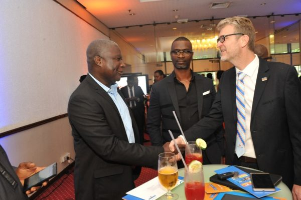 Alaba Fadero, Executive Director, MediaReach OMD; Tokunbo Modupe, Chief Consultant, TPT International; and Olivier Thiry, Managing Director, Promasidor Nigeria Limited; at the 2016 Promasidor Quill Awards event held at Sheraton Lagos Hotel …recently